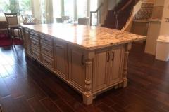 Custom kitchen island with granite top