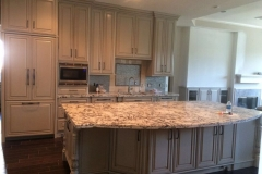Custom marbled granite kitchen counter top